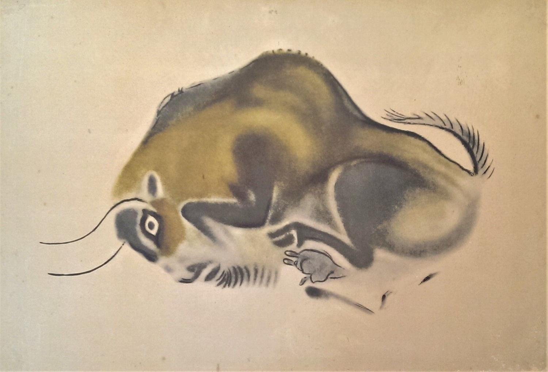 """Female Bison Curled Round"" (after Upper Paleolithic original)"