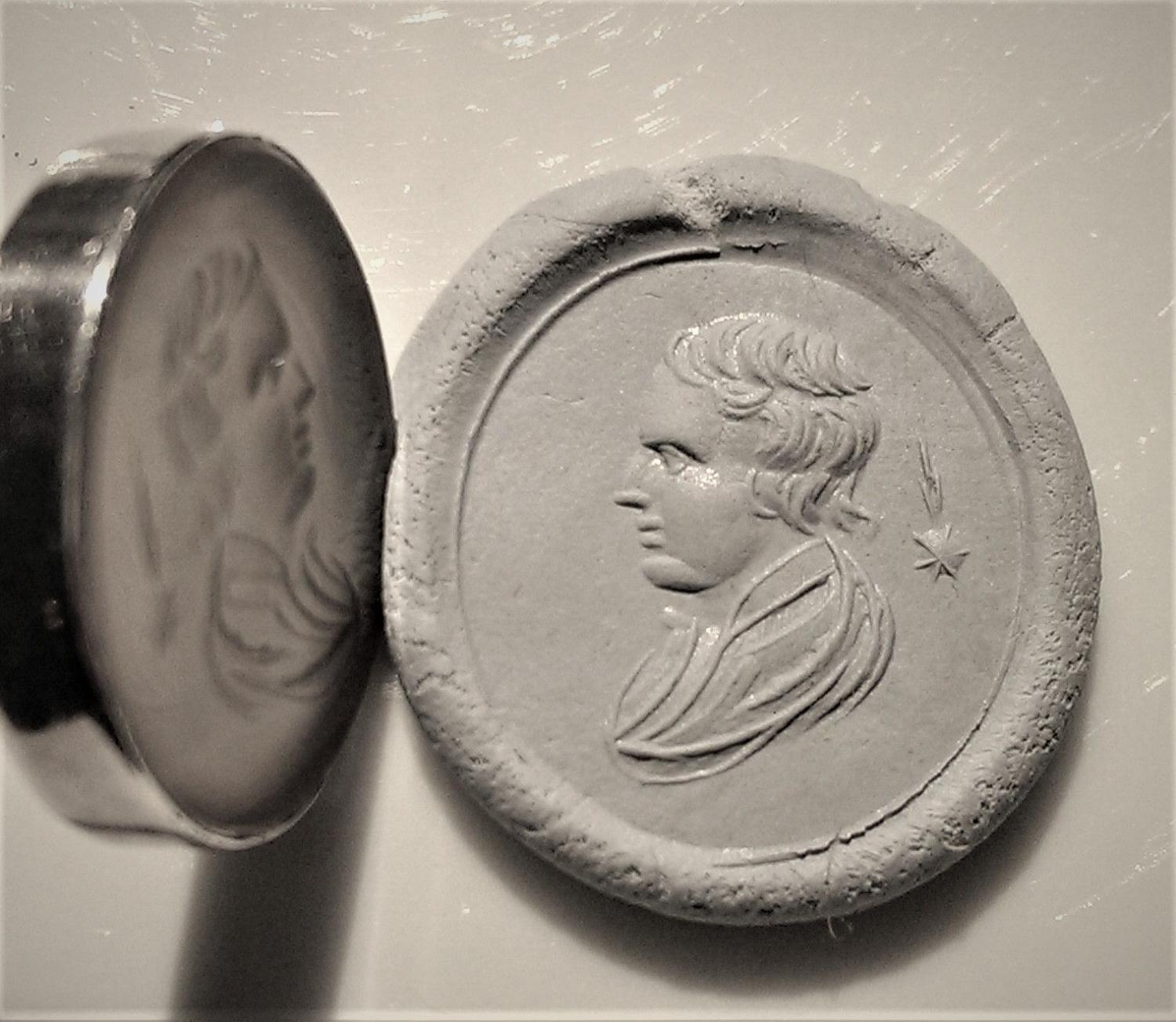Sir Isaac Newton, White Agate Intaglio Ring, Late 18th Century