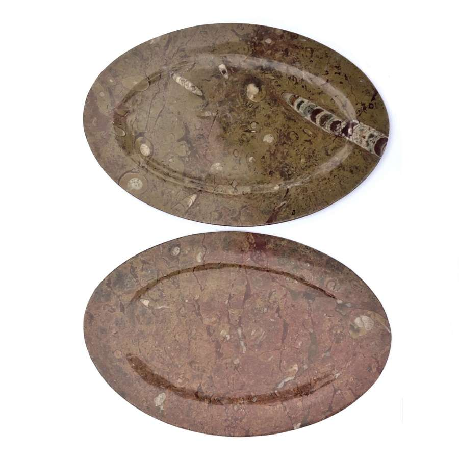 Pair of fossil-rich marble oval platters