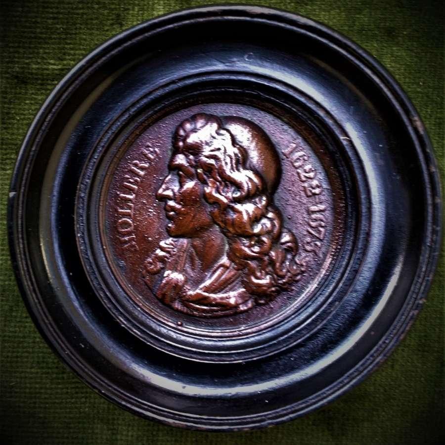Jean-Baptiste Molière framed uniface cliché bronze plaque