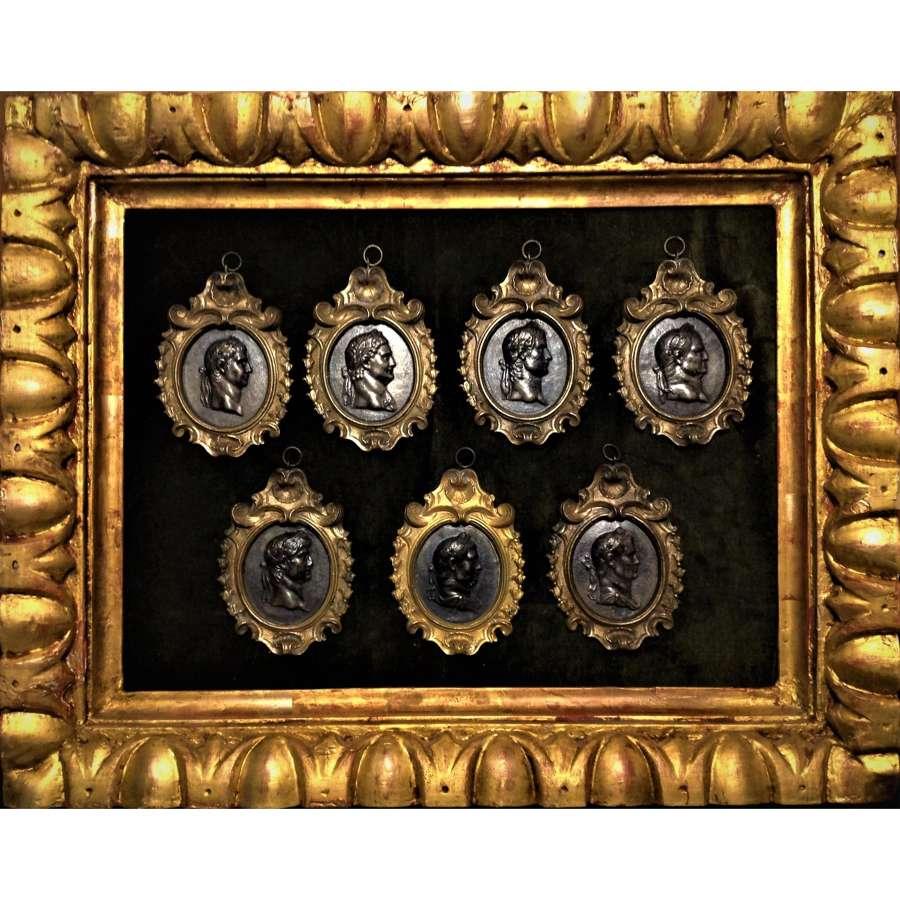 Seven Roman Emperor Silver Profile Relief Portraits in Ormolu Frames