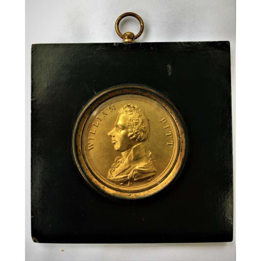 Gilt Bronze Portrait Plaque of William Pitt