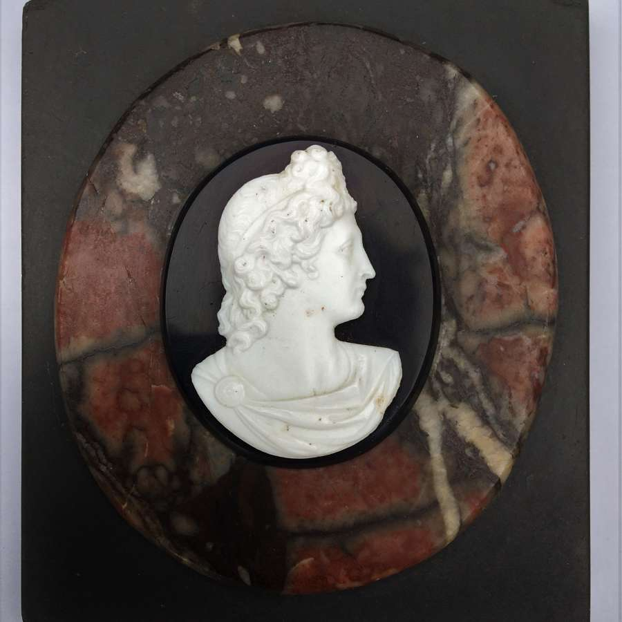 Grand Tour marble Paperweight set with Apollo Belvedere Cameo Bust