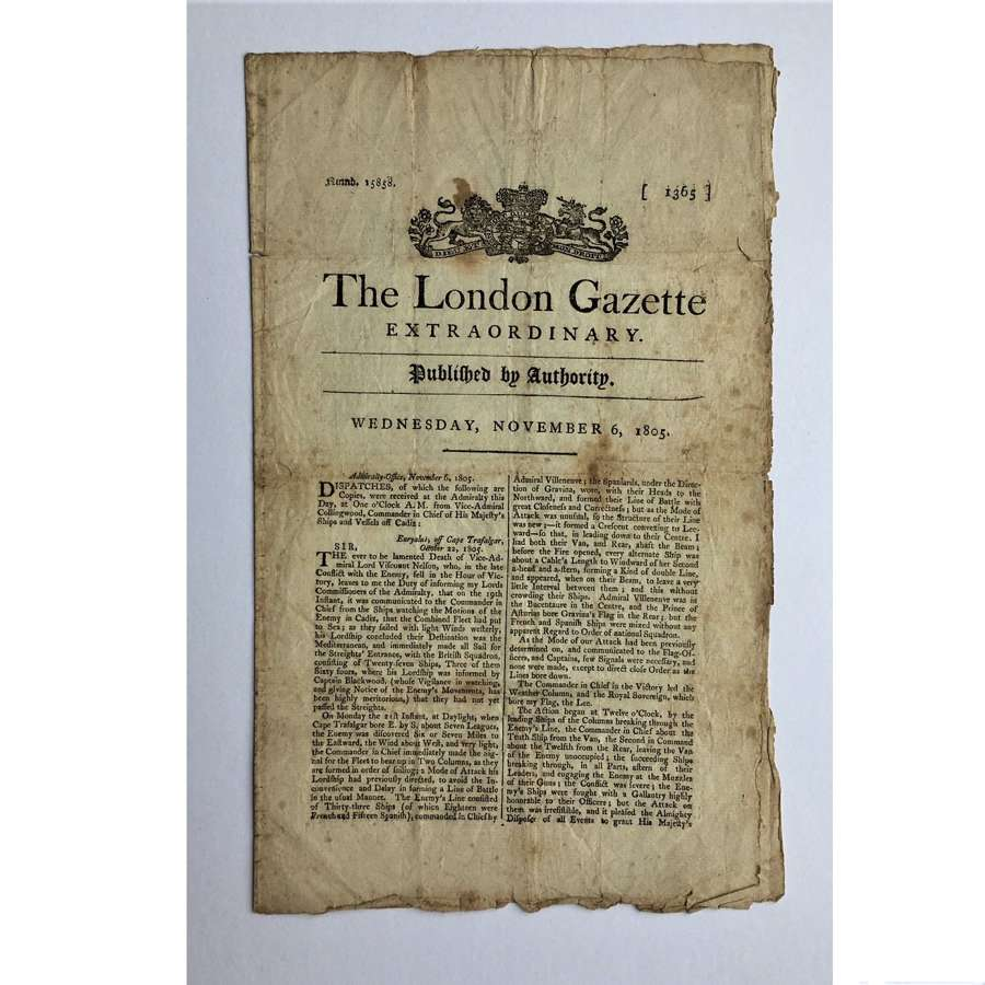 London Gazette EXTRAORDINARY No 15858 Wednesday November 6, 1805