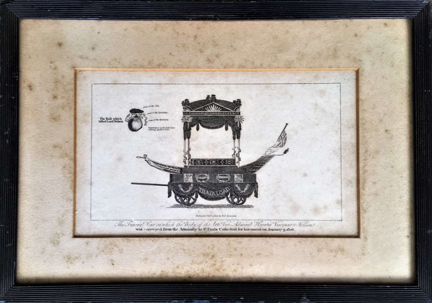 Antique Print of Lord Nelson's Funeral Car & The Ball Which Killed Him