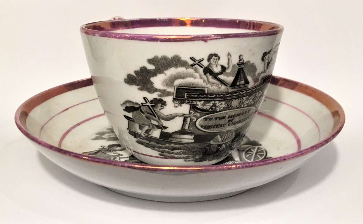 Cup and saucer commemorating the death of Princess Charlotte
