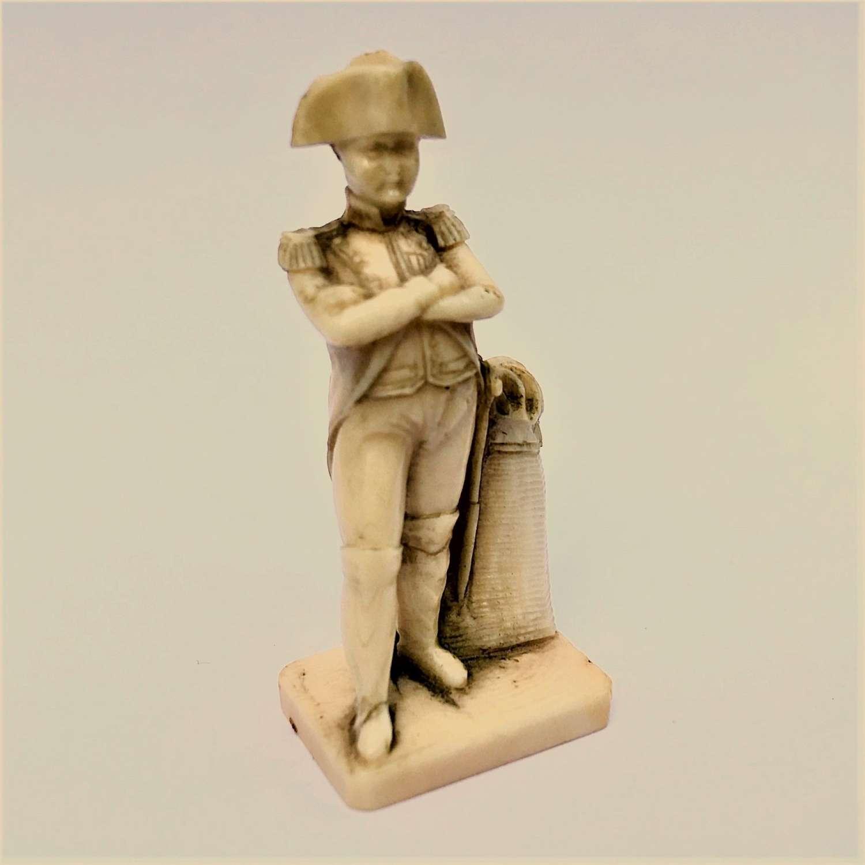 A miniature Dieppe bone carving of Napoleon Bonaparte