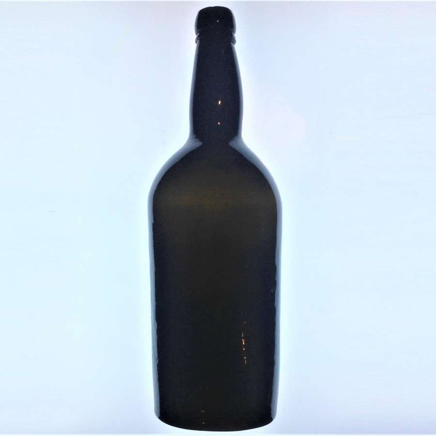 Antique 19th Century Black Glass Magnum Size Port or Wine Bottle