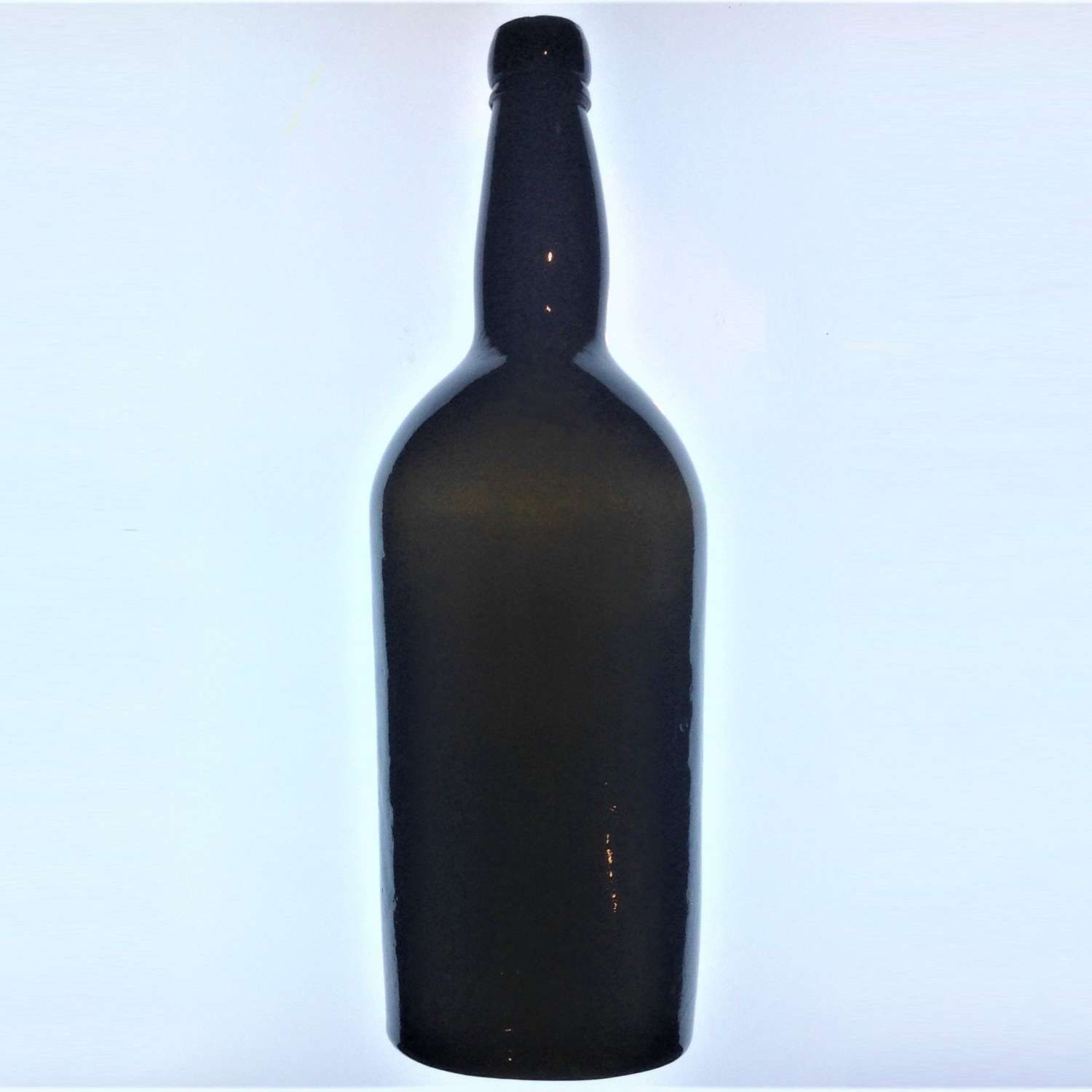 Antique 19th Century Black Glass Magnum Size Port or Wine Bottle