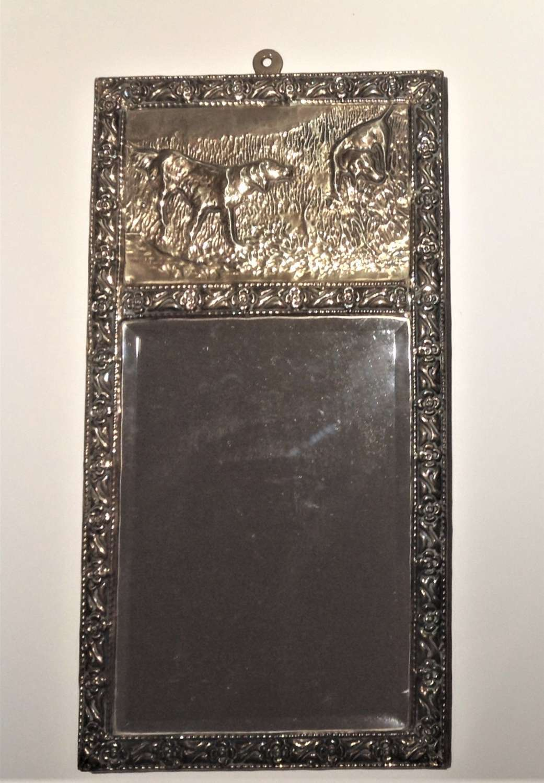 Arts & Crafts Repoussé Hammered Brass Bevelled Wall Mirror