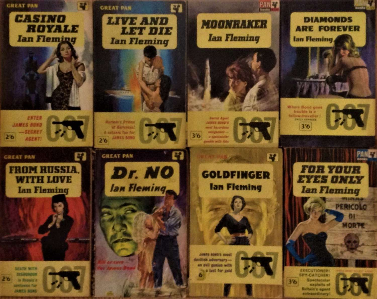 Vintage set of the first eight of Ian Fleming's