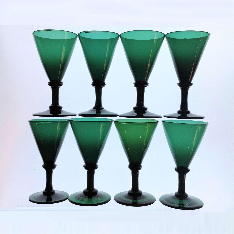 Set of Eight (8) Trumpet Shape Bristol Green Glass Wine Goblets
