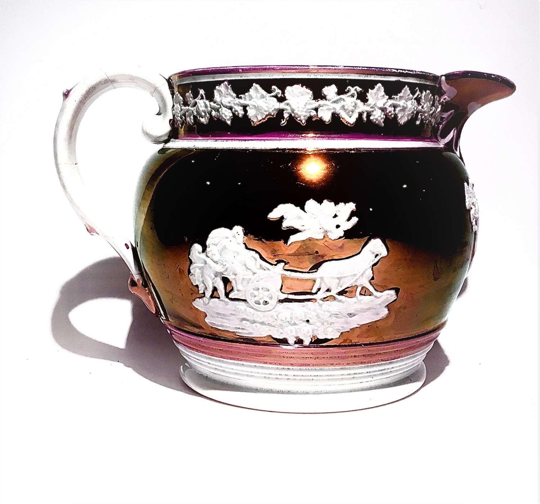 Regency era, pink copper lustre ware jug with neoclassical motifs