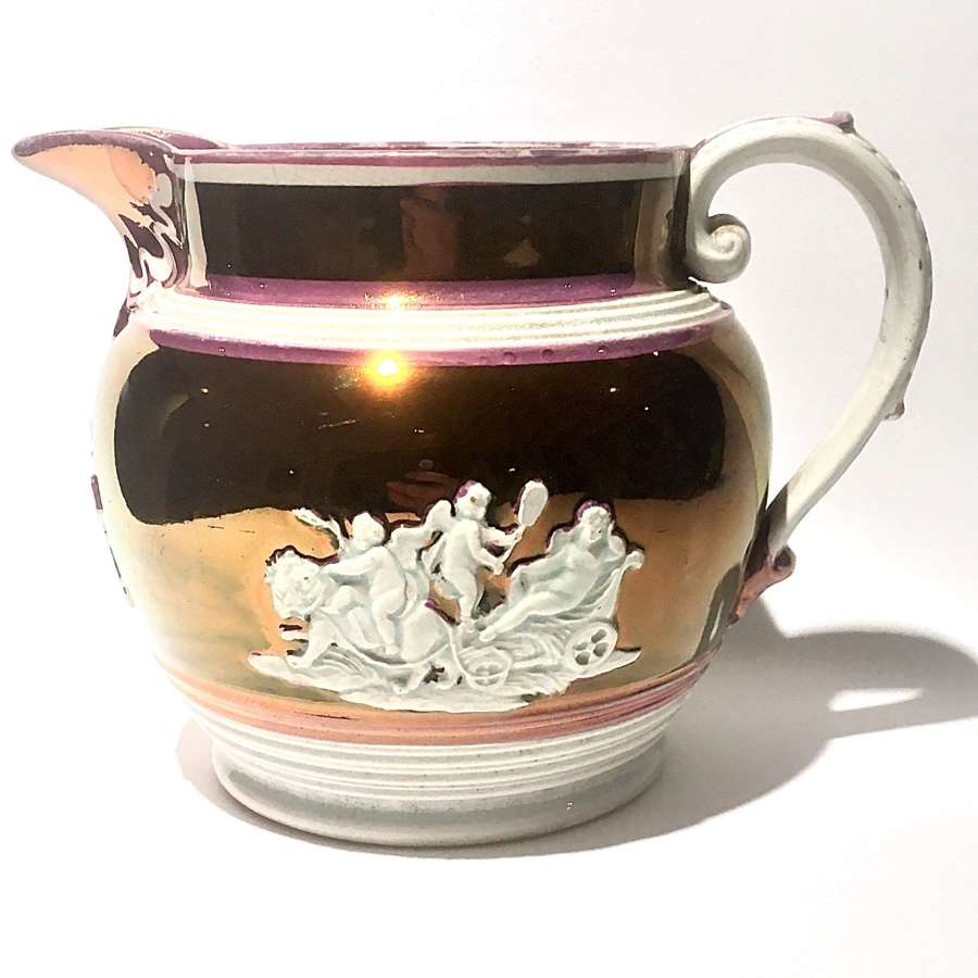 Regency era, pink copper lustre ware jug with neoclassical motifs