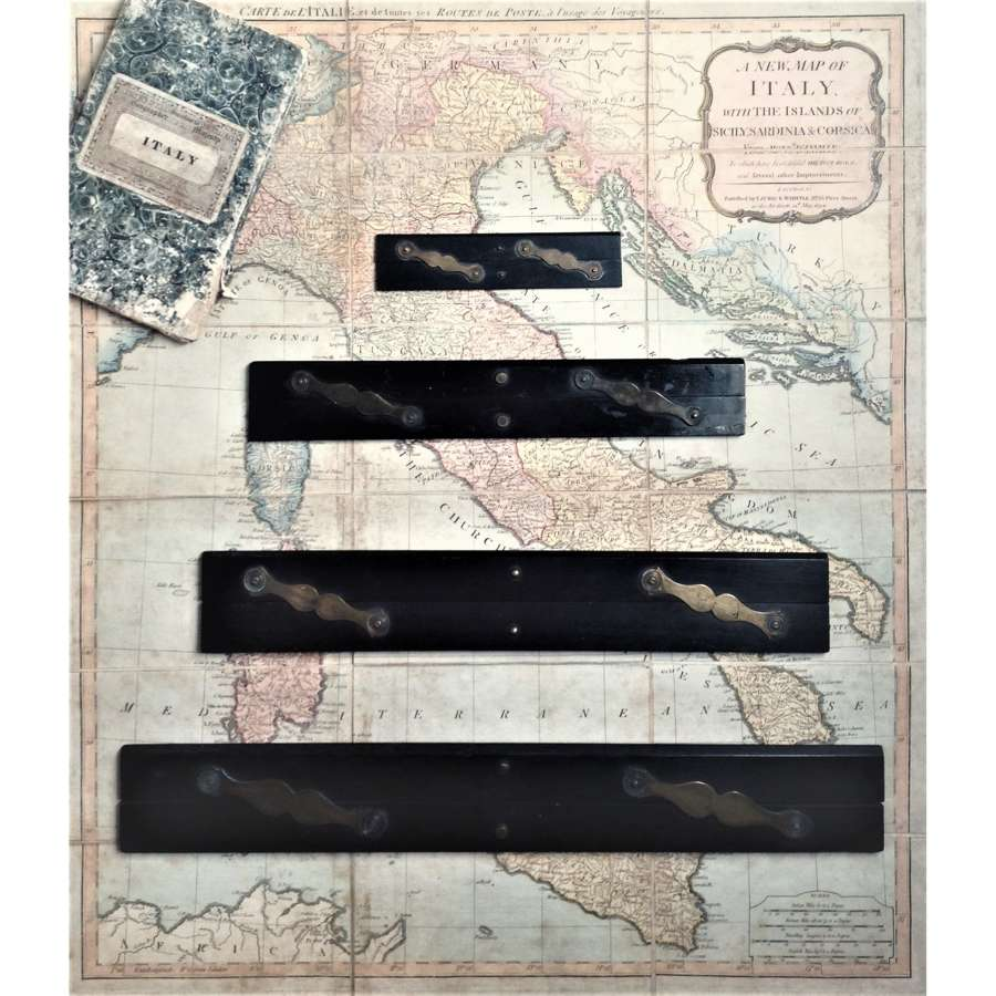A graduated set of 4 navigator's or architect's ebony parallel rulers