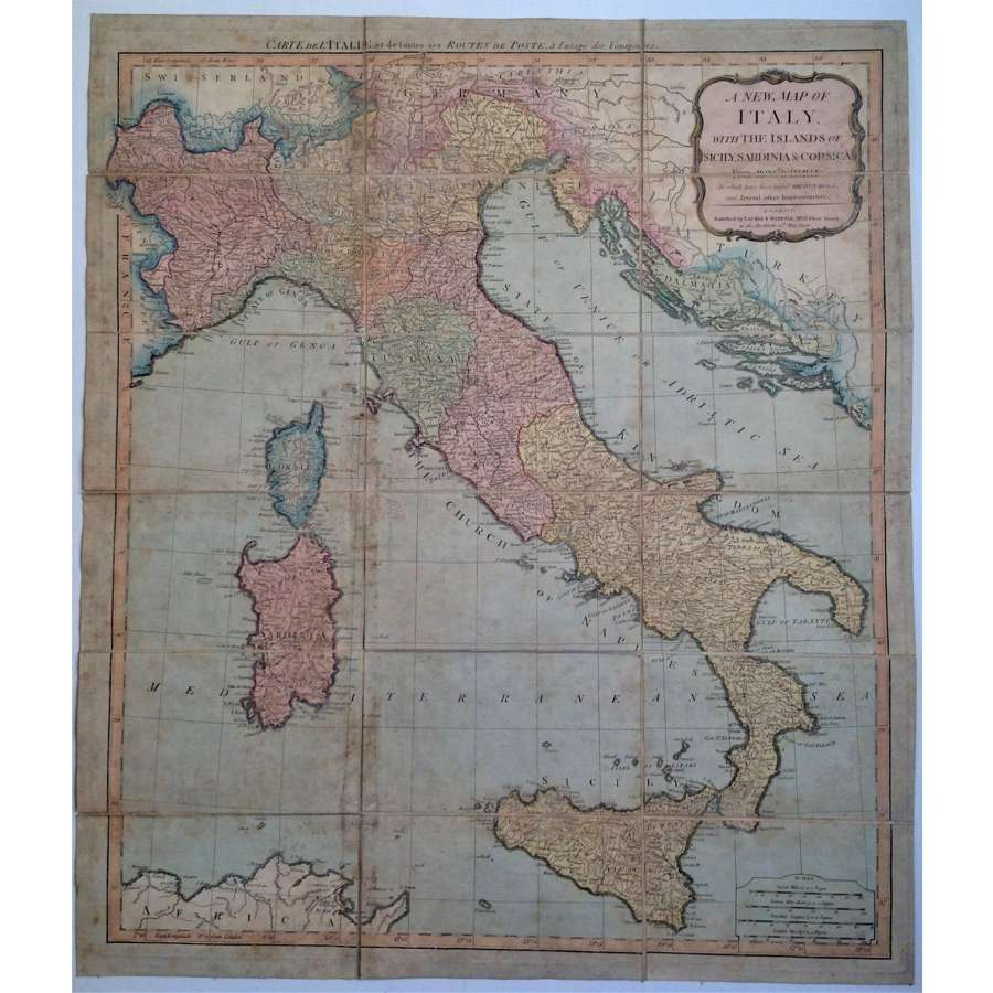 Antique Georgian Grand Tour Folding Map of Italy, Sicily, Sardinia etc