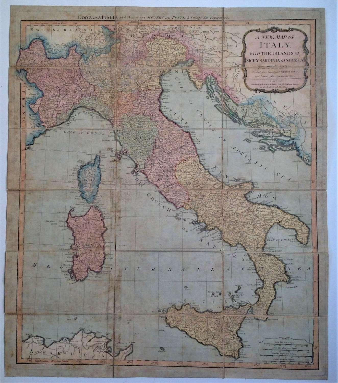 Antique Georgian Grand Tour Folding Map of Italy, Sicily, Sardinia etc
