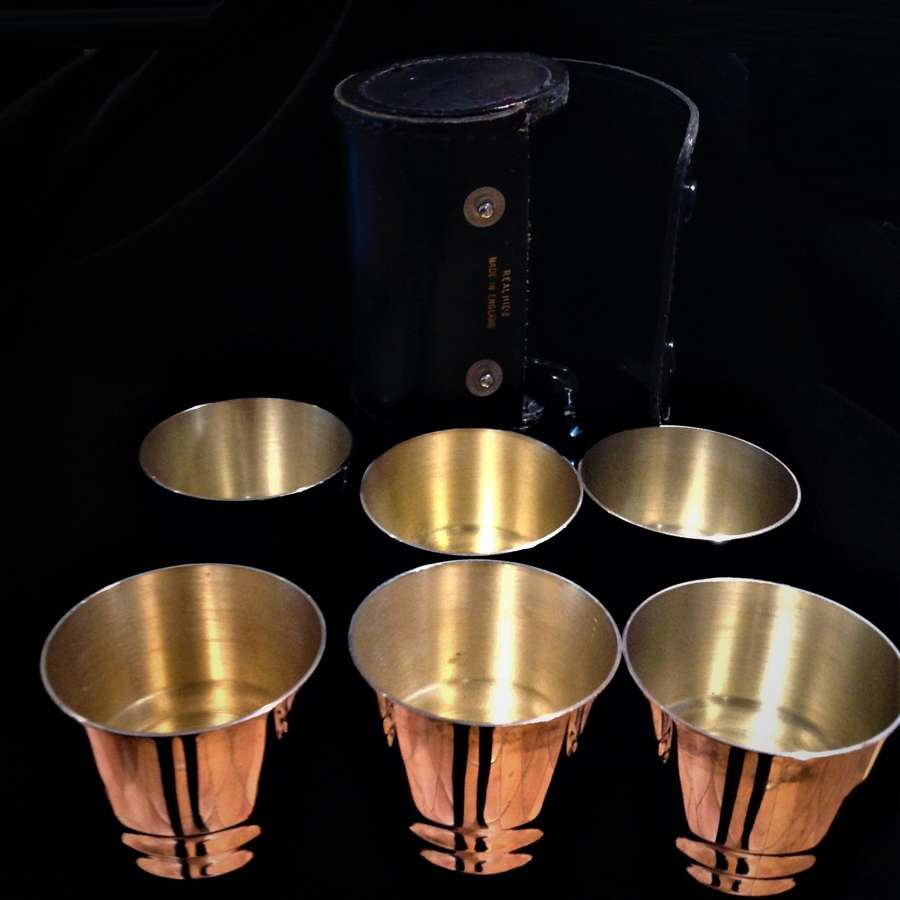 Set of six (6) silver plated stirrup cups in leather case