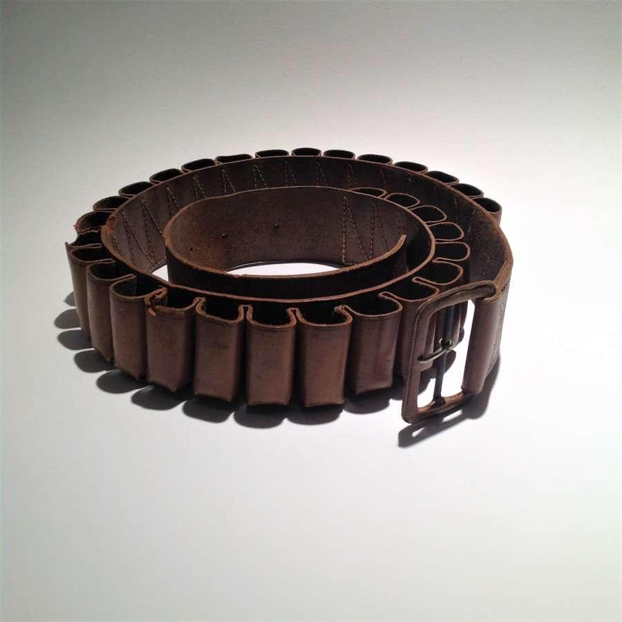 Vintage leather, 12 bore (12-Gauge) cartridge belt
