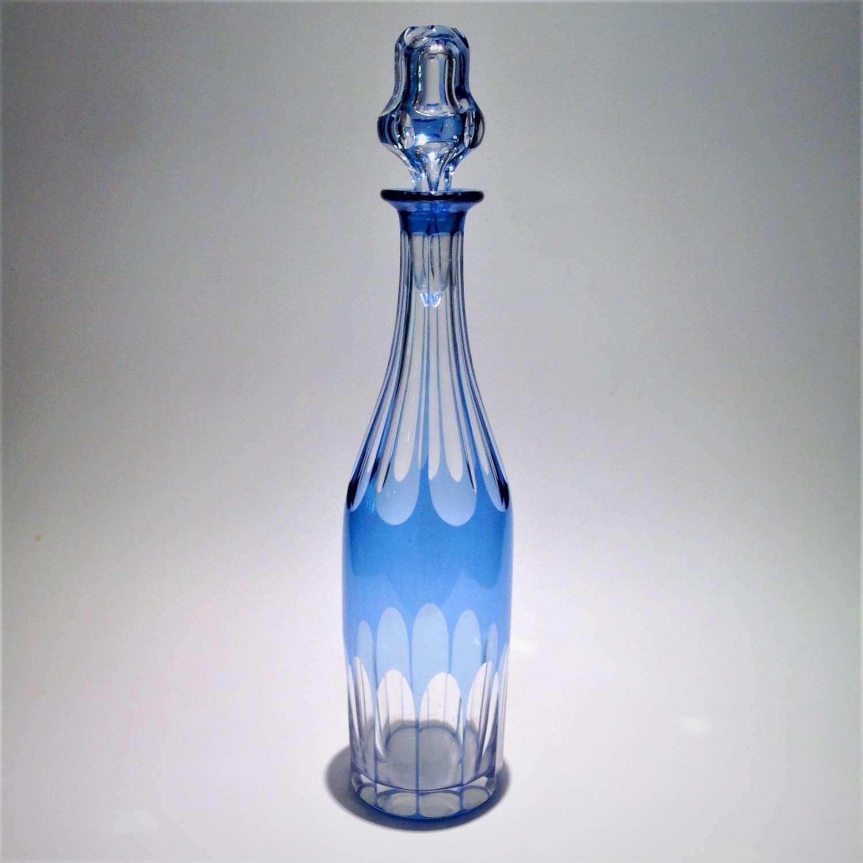 Pale blue cut-to-clear glass, bottle-shaped liqueur decanter