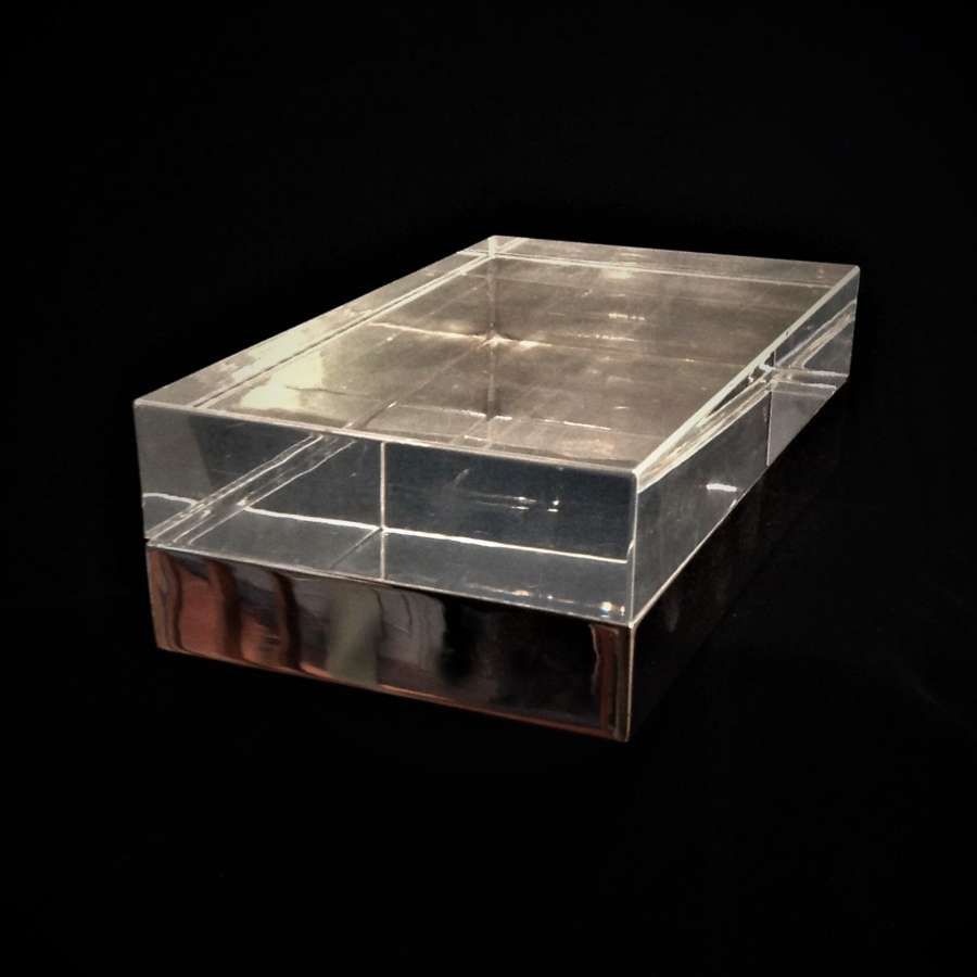 A Modernist Silver Plate & Acrylic Lucite Decorative Table Box