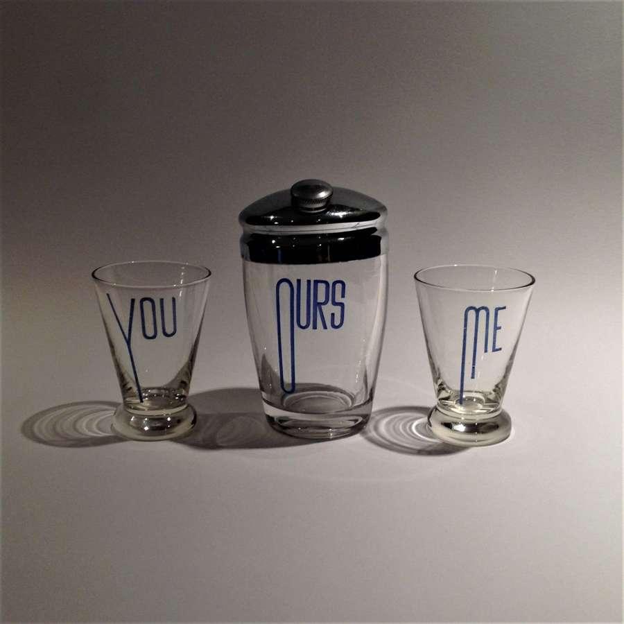 Art Deco Cocktail Shaker & Glasses, enamelled
