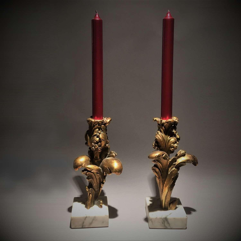 A Pair of Louis XV Style Flambeaux Ormolu Candlesticks
