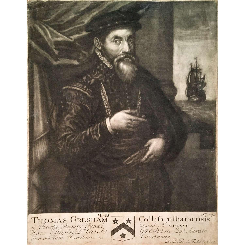 Sir Thomas Gresham (circa 1518/19-1579), Mezzotint Portrait