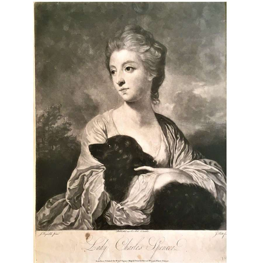 Lady Charles Spencer (1743-1812) portrait with a spaniel dog c.1767