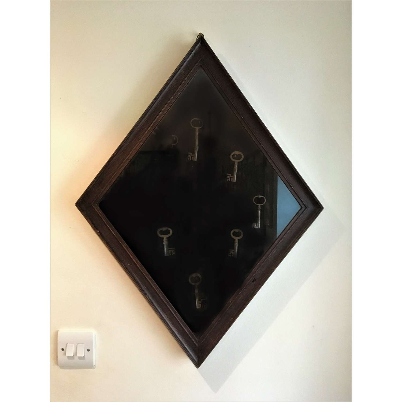 An Antique Glazed Diamond Shape Wall Hanging Key Cabinet