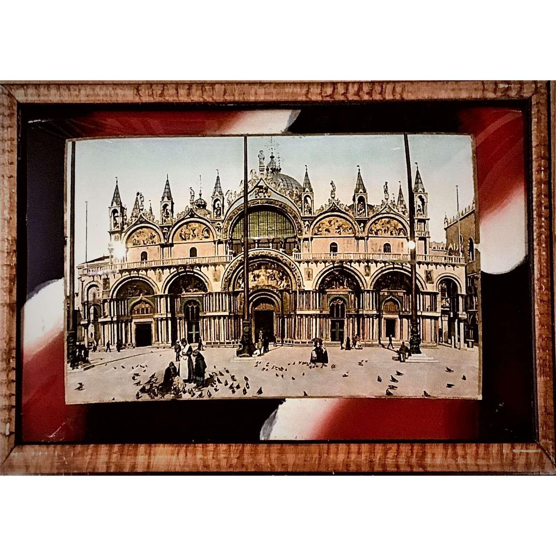 An unusual verre églomisé photograph of Basilica San Marco Venice