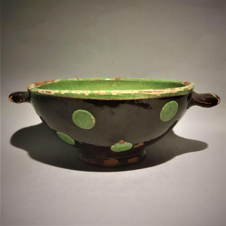 Small Provincial French Polka Dot Glazed Terracotta Earthenware Bowl