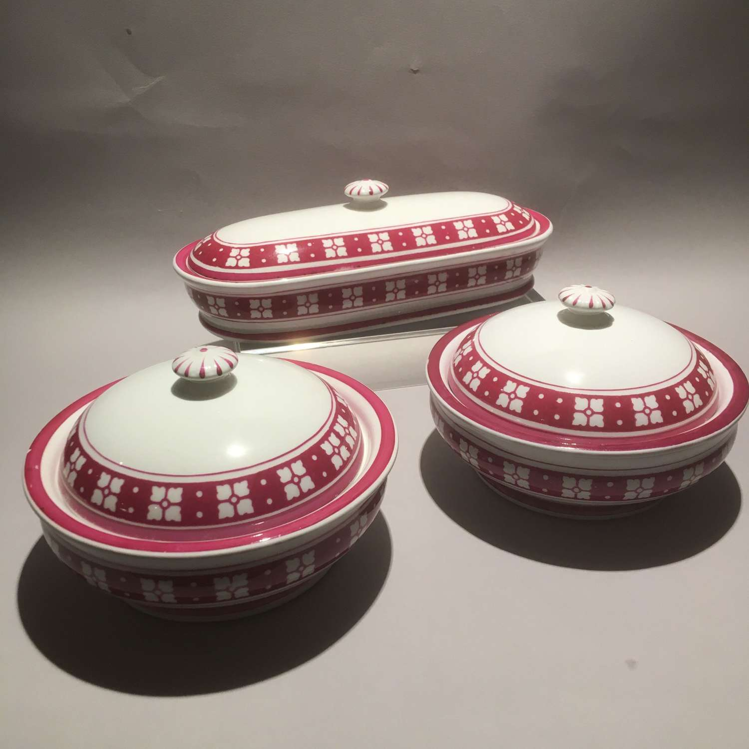 Minton Gothic Revival Soap Dishes and Toothbrush or Razor Box