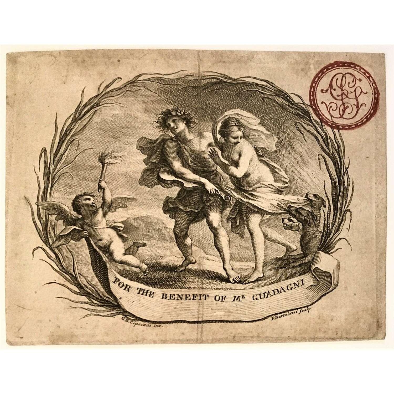 Rare 18th Century concert ticket for castrato singer Gaetano Guadagni