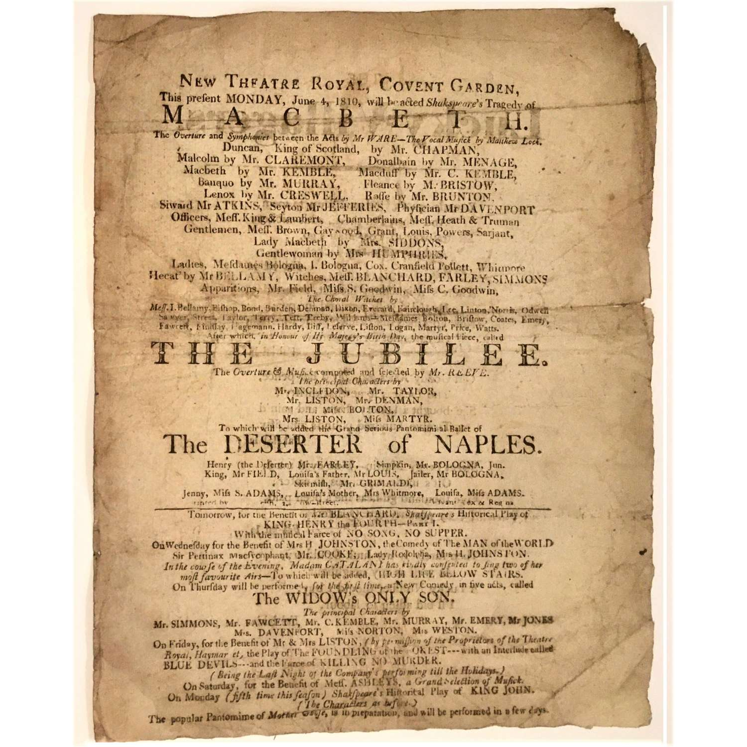 Playbill for Sarah Siddons in Macbeth, New Theatre Royal Covent Garden