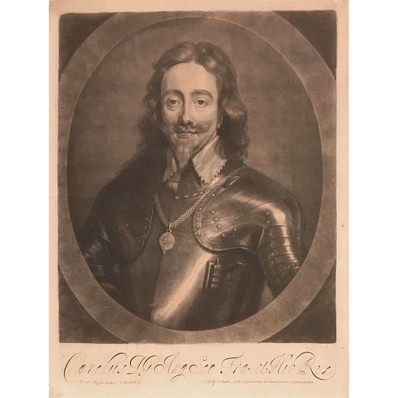 King Charles I (1600-1649), mezzotint portrait, Published Circa 1688