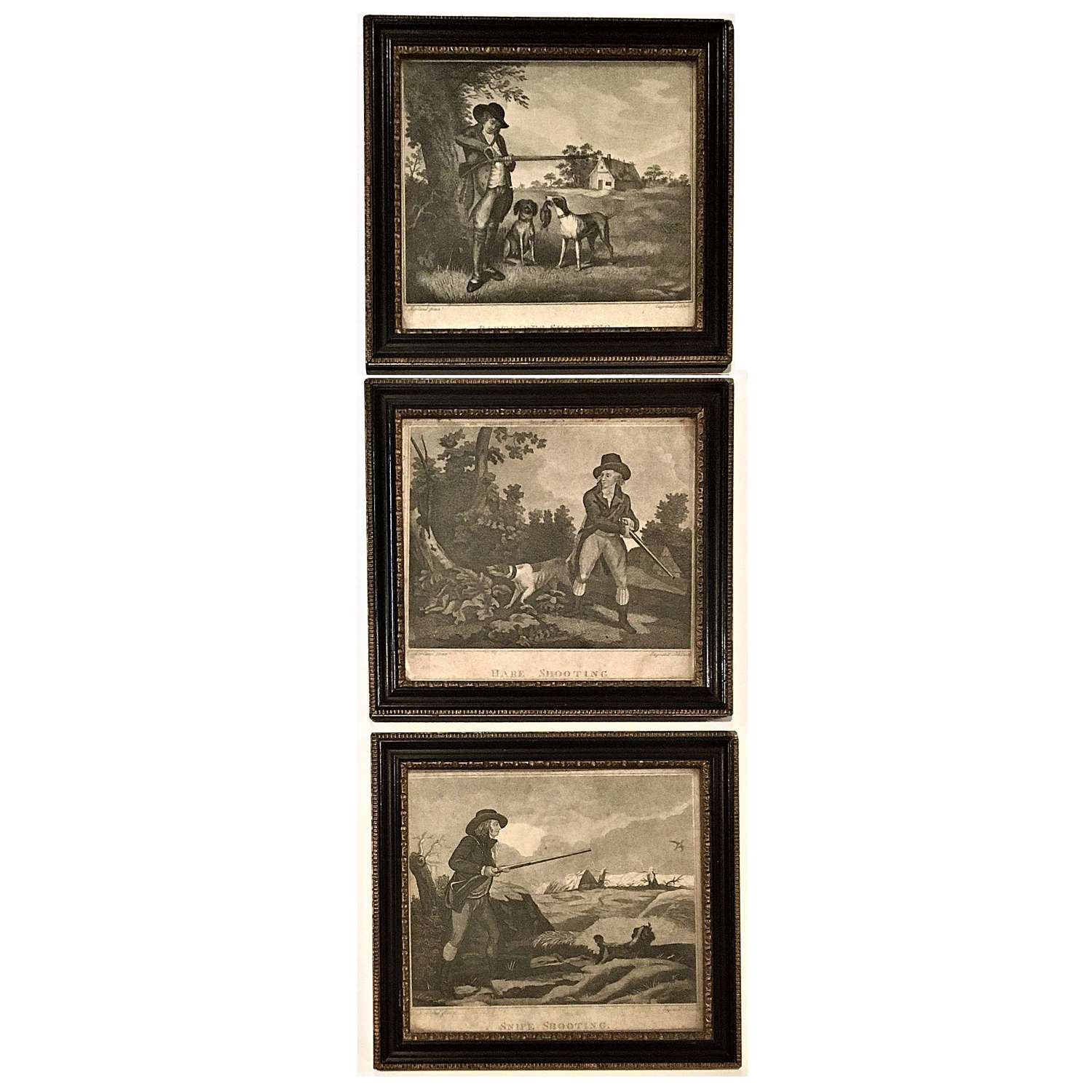 George Morland (1763-1804), A set of three prints with shooting scenes