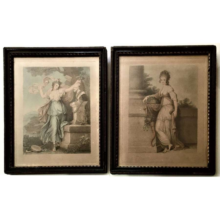 Two 18th Century stipple engravings of celebrated beauties