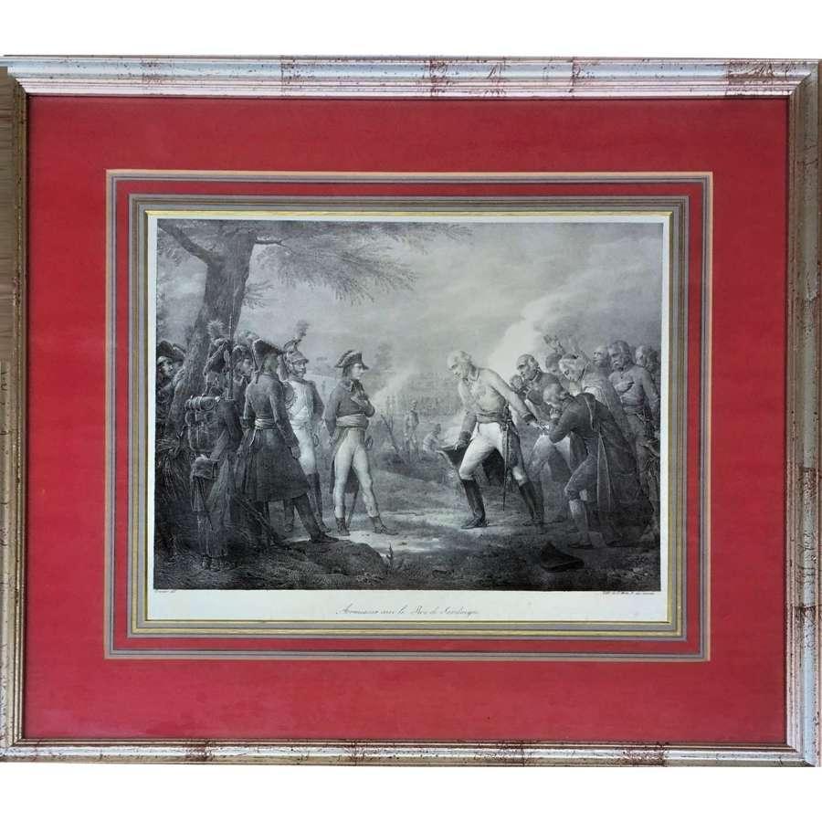 Napoleon's armistice with the King of Sardinia, Lithograph Circa 1826