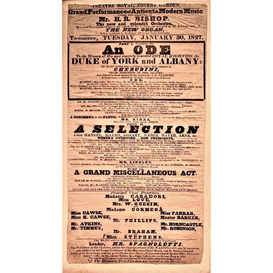 Memorial concert playbill for the Duke of York & Albany (1763–1827)