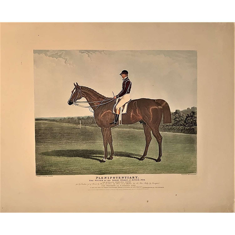 'Plenipotentiary' Winner of the 1834 Epsom Derby, Aquatint