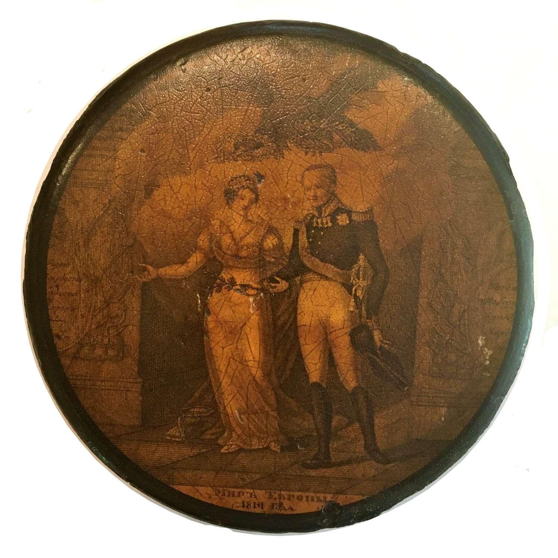 19th Century Russian papier mâché snuff box Commemorating 1814 Peace