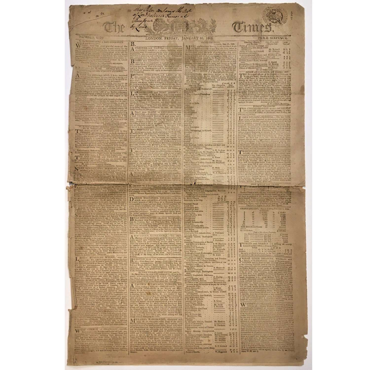 Earliest illustrated copy of 'The Times', Friday 10 January 1806