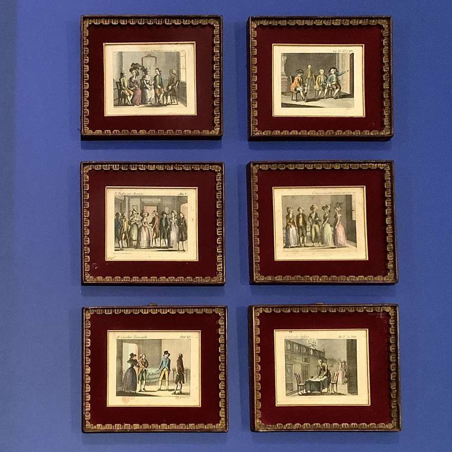 A very attractive set of six (6) 18th Century Venetian framed prints