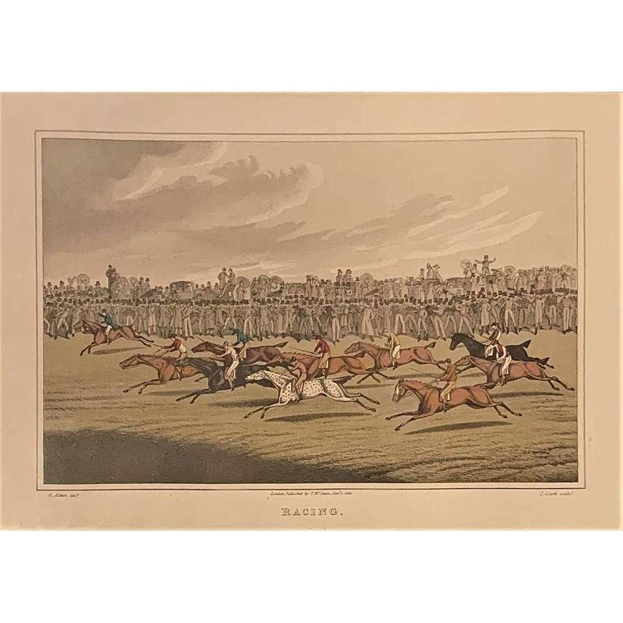 """Henry Alken (1785-1851), """"Racing"""". Aquatint by John Clark."""