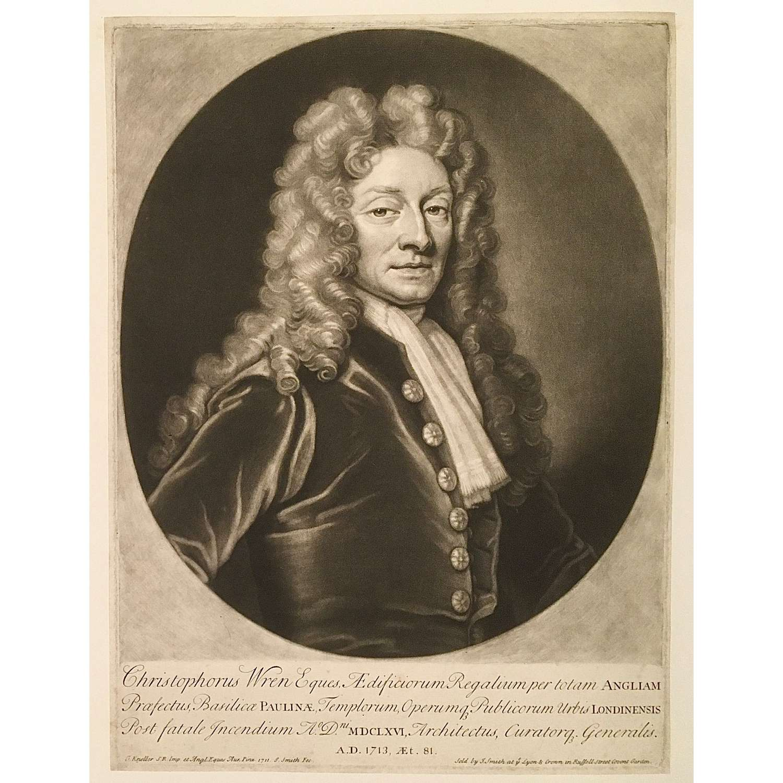 Sir Christopher Wren (1632-1723), 1713 Mezzotint Portrait